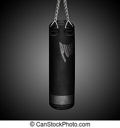 Punching bag in the gym on a dark background