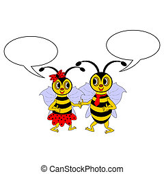 A couple of funny cartoon bees with chatting bubbles