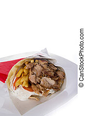gyros with tzatziki and pork and french fries