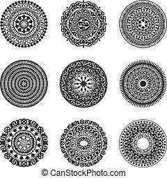 Oriental radial patterns set