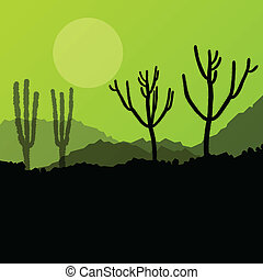 Desert cactus plants wild nature landscape illustration...