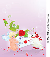 Valentine`s Day illustration with rose, angel, letter and dove. Empty space for your text.