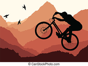 Mountain biking vector background for poster - Mountain...