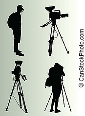Cameraman silhouette vector background for poster