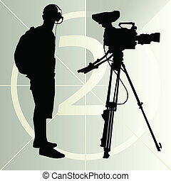 Cameraman silhouette vector background and film countdown number for poster