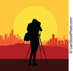 Cameraman silhouette vector background filming city for...