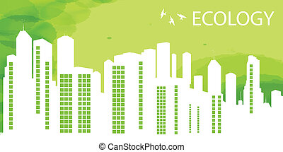 Green Eco city ecology vector background for poster