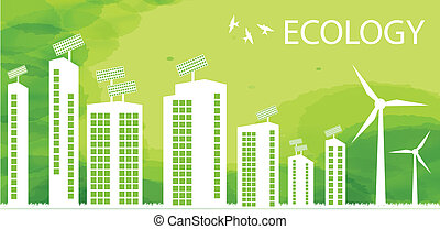 Green Eco city ecology vector background