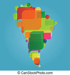 South America continent world map made of colorful speech...