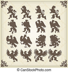 Vintage royal birds coat of arms