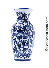 Porcelain Vase - Chinese Porcelain Vase On White Background