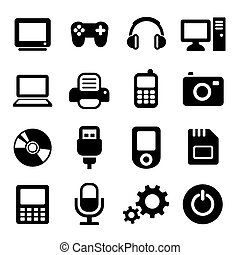 Multimedia gadget icons set