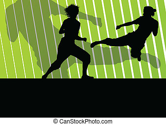 Martial arts active women self defense fighters silhouettes illustration background vector