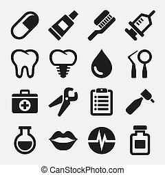 歯医者の, アイコン, セット