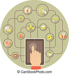 Social Networking by Tablet - Conceptual illustration of the...