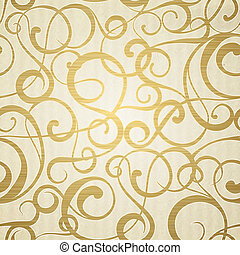 Golden abstract pattern on sepia background illustration
