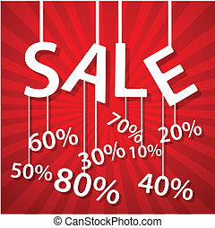 Sale poster with percent discount - Vector Illustration of...