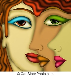 womens faces - abstract design with womens faces