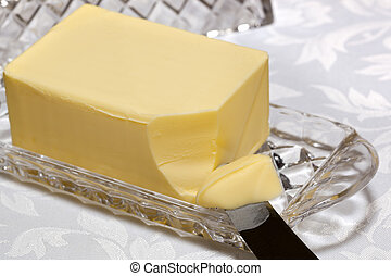 Butter Dish - Butter in crystal butter dish with knife.