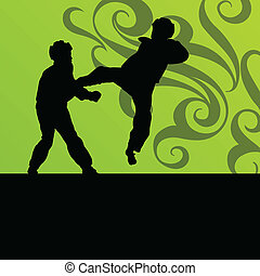 Active tae kwon do martial arts fighters combat fighting and...