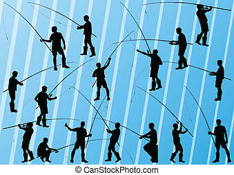 Fishermen and fishing rod detailed silhouettes illustration...