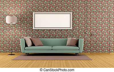 living room with vintage wallpaper and door flush with the...