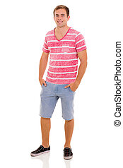 casual young man - portrait of good looking casual young man...