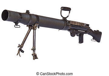 Old Machinegun - Old machinegun on tripod isolated on white...