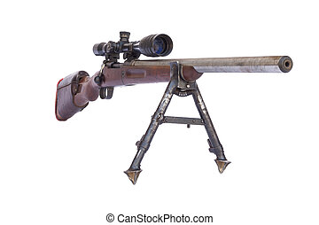 Old Rifle - Old rusty sniper rifle with scope isolated on...