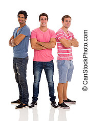 group of young men standing on white background