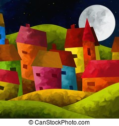 mountain village - abstract background with mountain village