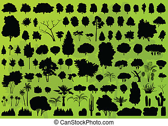 Forest trees silhouettes landscape background vector -...