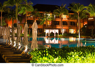 Thai resort with pool at night view - luxury resort with...