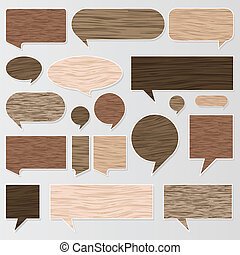 Natural wood texture speech bubbles vector - Natural wood...
