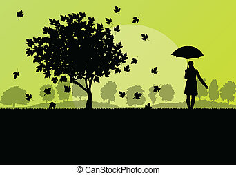 Maple tree autumn leaves and girl with umbrella background...