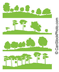 Forest trees silhouettes landscape illustration collection...