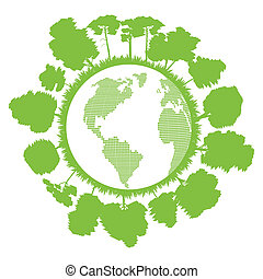 Ecology planet with forest around it vector background...