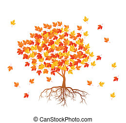 Maple tree autumn leaves background vector with roots