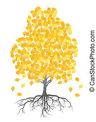 Autumn birch tree leaves vector background for poster
