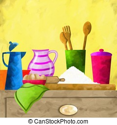 ingredients on the table - abstract background with...