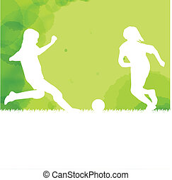 Kids playing soccer background - Kids playing soccer vector...