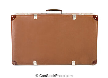 old suitcase head-on before white background - old brown...