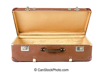 old suitcase open before white background - old brown...