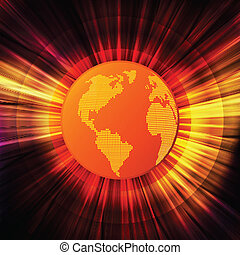 Global warming concept with burning globe like sun vector background concept