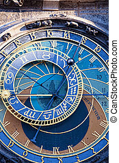 Old astronomical clock in the center square of Prague, Czech...
