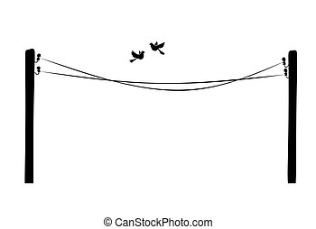pigeons - illustration of pigeons flying along a telegraph...