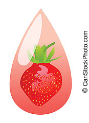 Fresh strawberry juice drop concept background vector