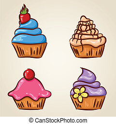 Set of four cute cupcakes