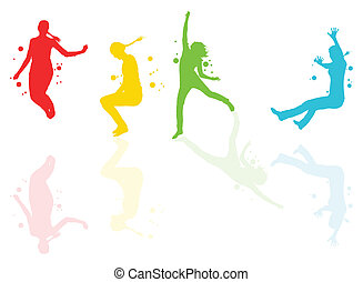 Dancing girls with colorful spots and splashes with...