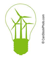Light bulb and eco symbol inside Alternative energy concept...
